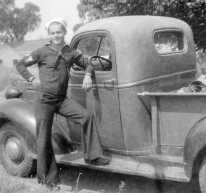 Duke with his dad's '39 Chevy Pickup About 1942