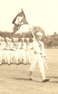 "Luke E Doerr as the ""Guidon"", person carrying the flag. 1939"