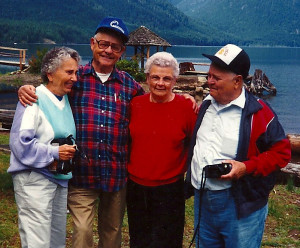 Ruth, Duke, Margaret and Bill at Lake Cushman.