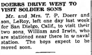 Clipping dated 23 Jun 1942. They traveled to San Francisco, though, not San Diego.