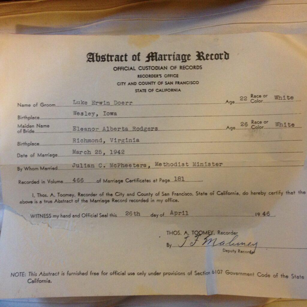 DoerrLukeEleanor-1942-MarriageRecord